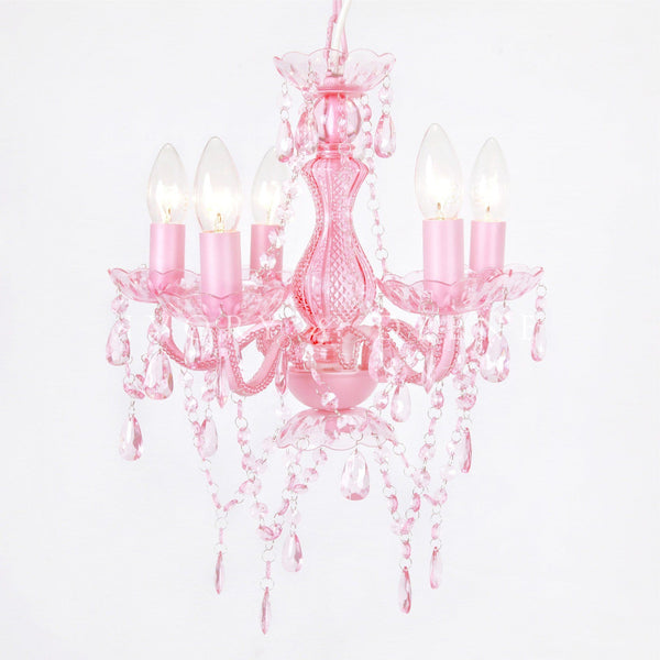 Soft Pink 5 Light Glass Crystal Chandelier