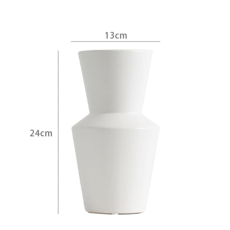 modern white vase on a white background with dimensions