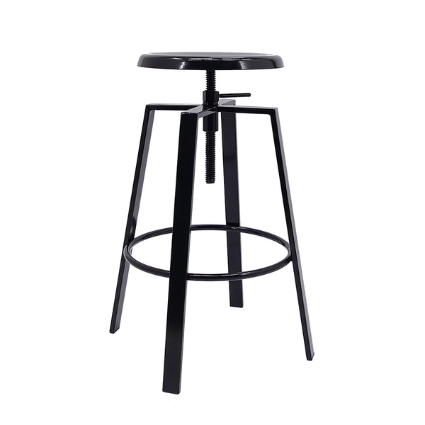 black metal bar stool on a white background with a swivel seat