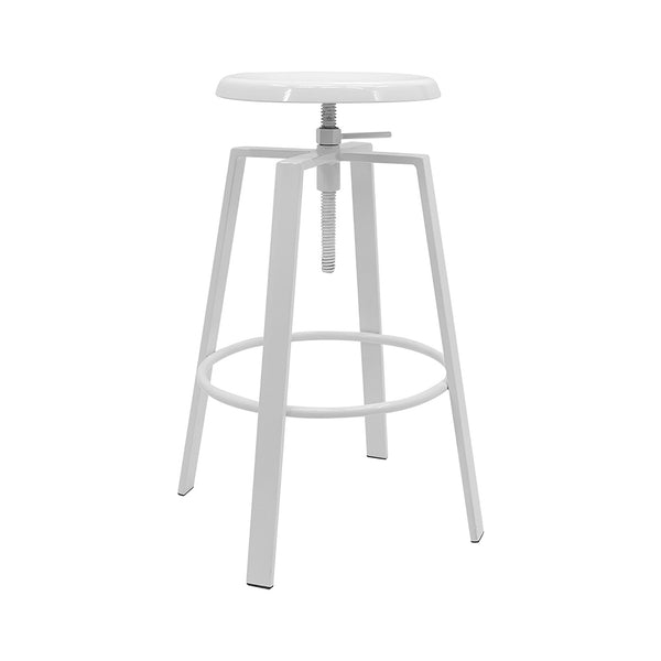 white metal bar stool on a white background with a swivel seat