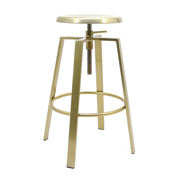 gold metal bar stool on a white background with a swivel seat
