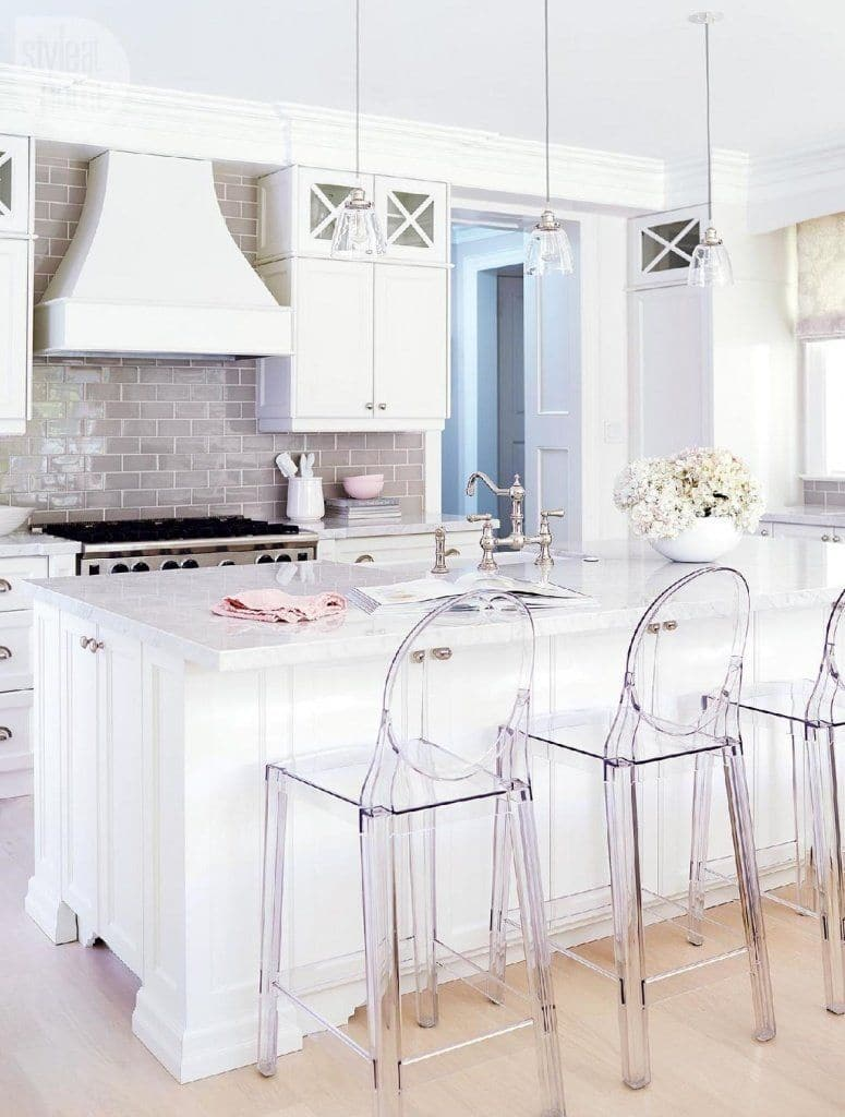 lucy glass pendant light in white kitchen with ghost chairs