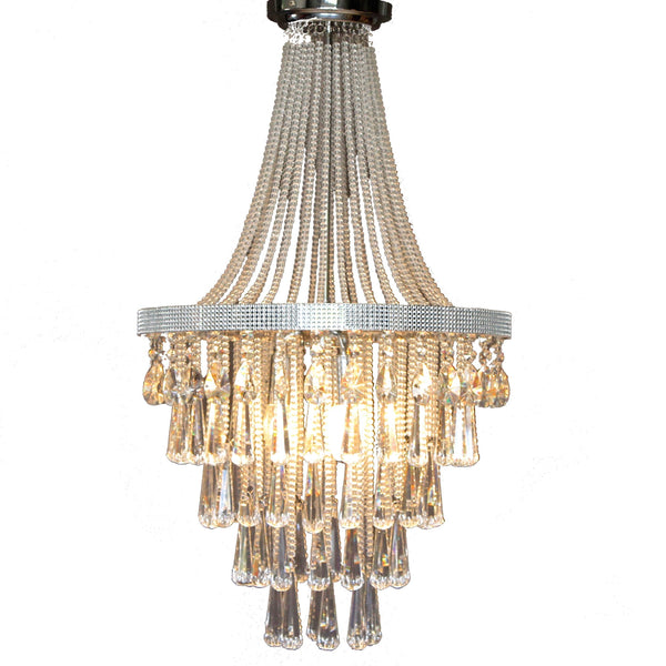 large empire chandelier with sequins and large glass droplets