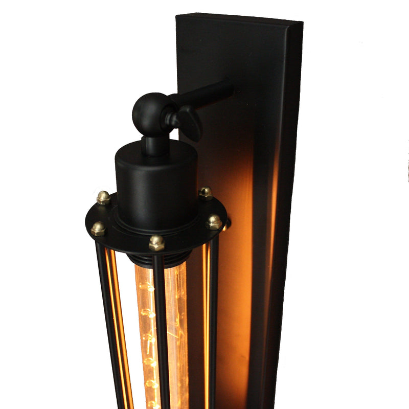 Matt Black Industrial Sconce Wall Lamp with Edison Filament Globe