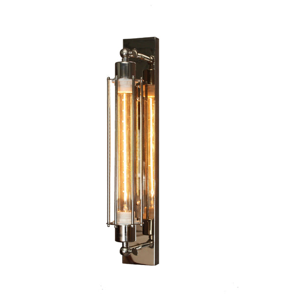 Polished Nickel Industrial Sconce Wall Lamp with Edison Filament Globe