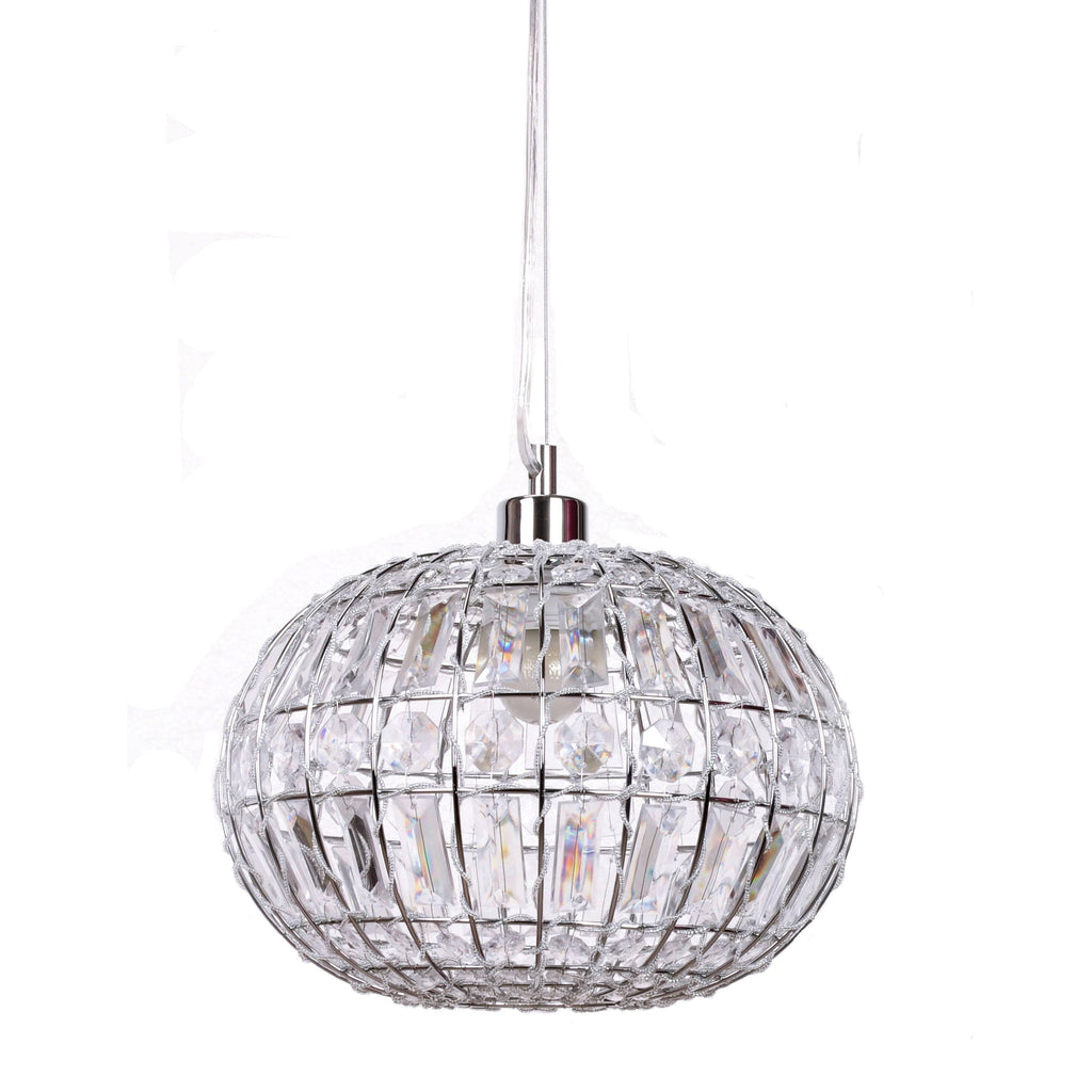 Lily pendant light chic round crystal ball hanging lamp ivory lily round pendant light with chrome fittings on white background aloadofball