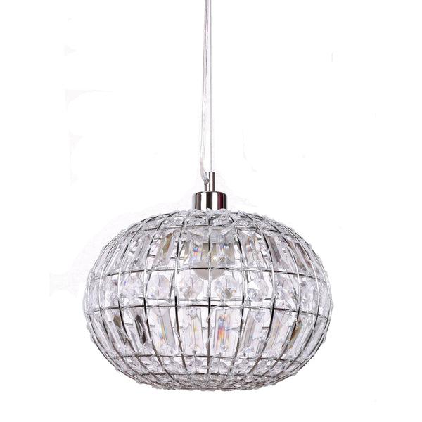 lily round pendant light with chrome fittings on white background