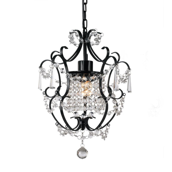small black wrought iron chandelier on white background