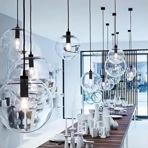 lifestyle pic of ariana glass pendant light with pearl black hardware