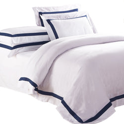 Ava Quilt Cover Set - Navy Trim