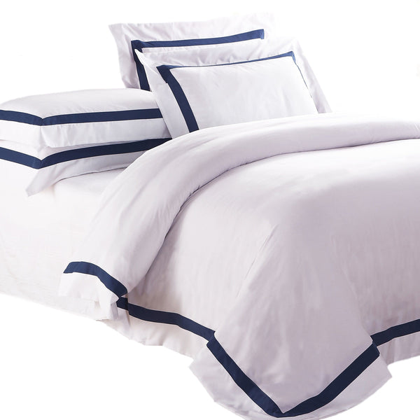 AVA COLLECTION White Quilt Cover Set with Luxury Navy Trim