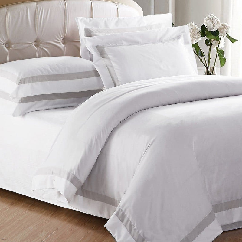 AVA COLLECTION White Quilt Cover Set with Luxury Sand Trim
