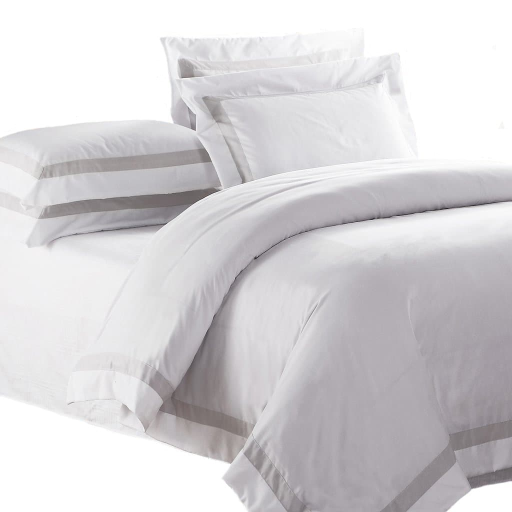 AVA COLLECTION White Quilt Cover Set with Luxury Sand Trim on a white background