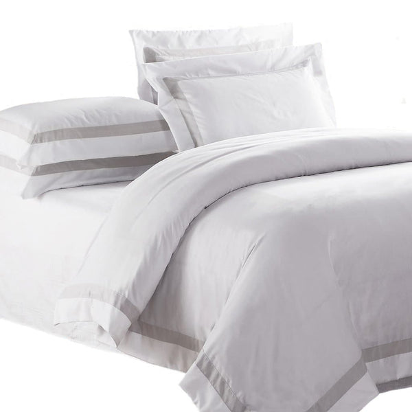 white bed sheets background. AVA COLLECTION White Quilt Cover Set With Luxury Sand Trim On A Background Bed Sheets S