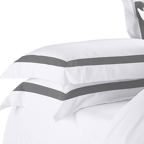 set of two white pillowcases with charcoal trim
