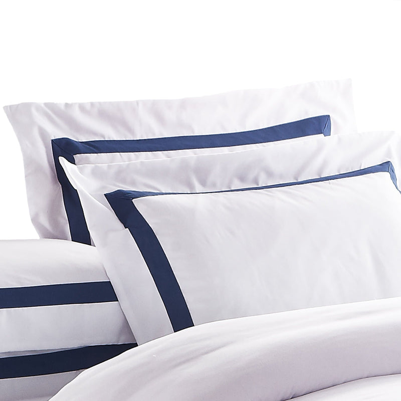 Ava Collection White Quilt Cover Set - Navy Trim