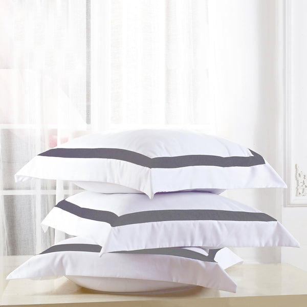 set of two European pillowcases with charcoal trim