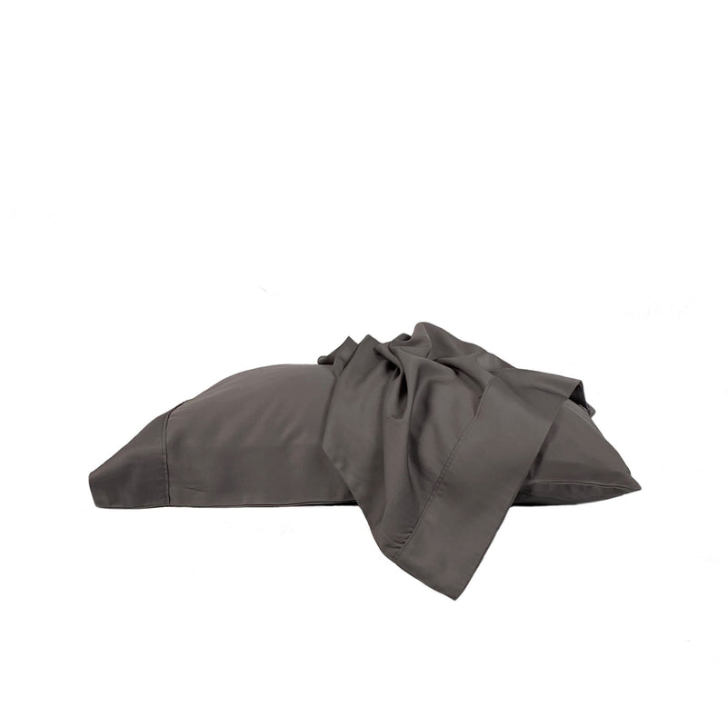 charcoal grey bamboo pillowcase set on a white background