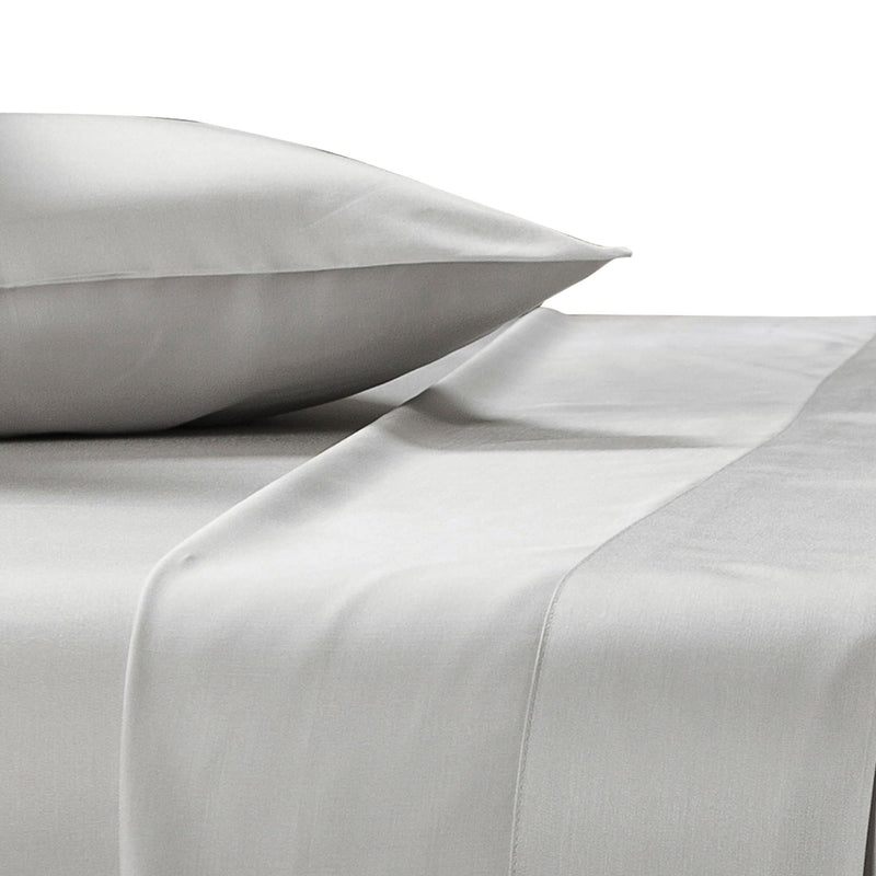 silver grey bamboo pillowcases on a bed