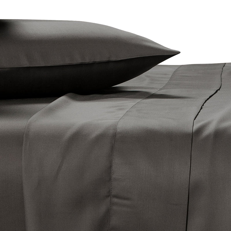 charcoal bamboo pillowcase on a bed