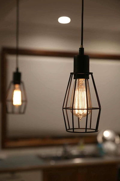hanging light kitchen black industrial cage pendant light for kitchen dining 1566