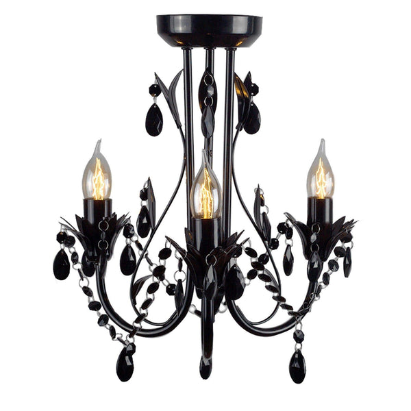 Harmony Leaf Chandelier 3 Light - Black