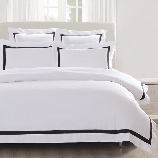 White Quilt Cover With Black Trim Ivory Amp Deene Ivory