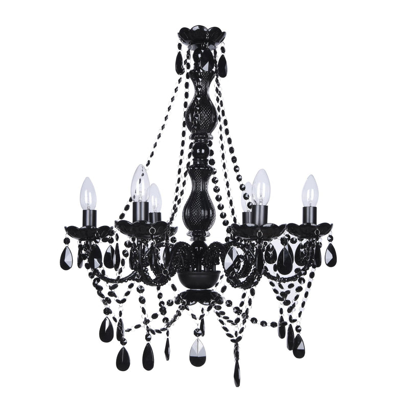 black glass romance chandelier on white background