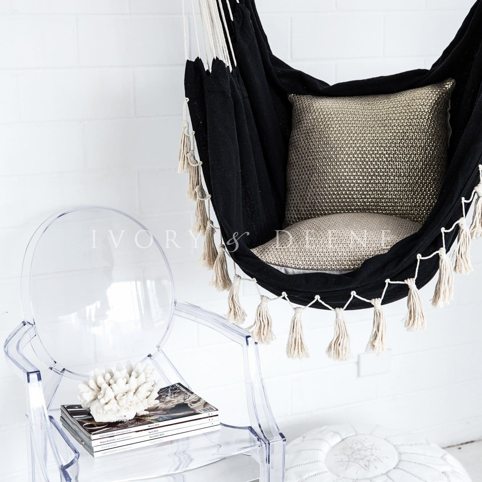 hammock chair soho black with tassels ivory deene ivory deene pty ltd. Black Bedroom Furniture Sets. Home Design Ideas