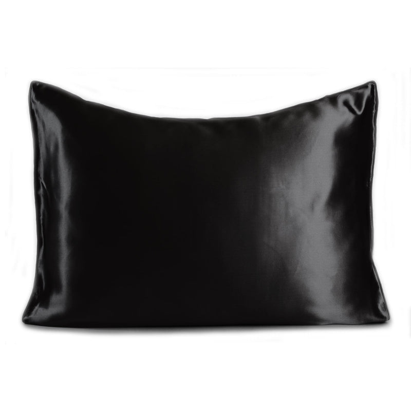 black satin silk feel pillowcase set on white background