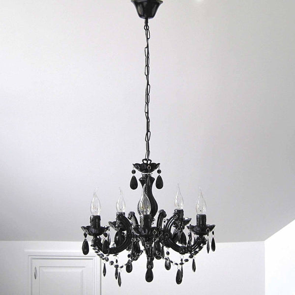 black marie therese chandelier hanging in bedroom