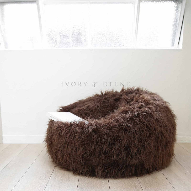 long-shaggy-fur-brown-beanbag-ivory-and-deene
