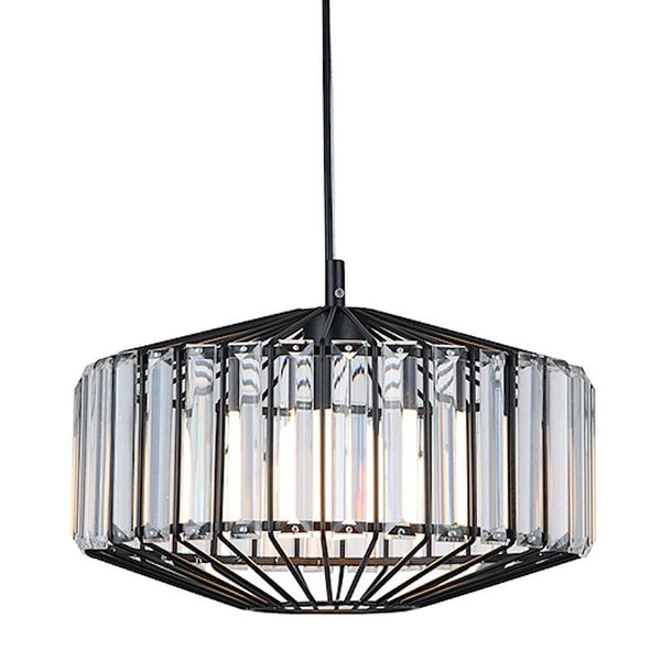 matt black cage pendant light with crystal prisms on a white background