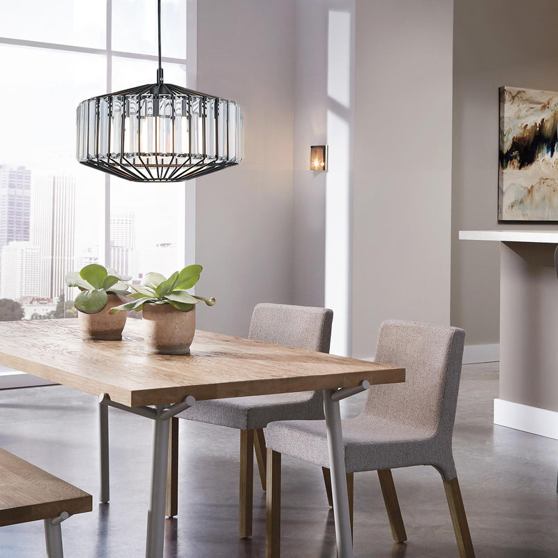 matt black cage pendant light with crystal prisms over a modern dining table