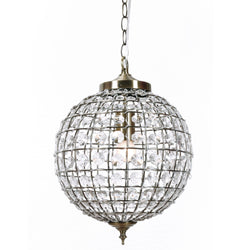 casablanca Italian inspired crystal ball chandelier with antique brass fittings on a white background