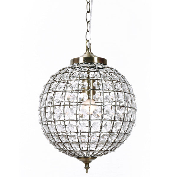 casablanca crystal ball chandelier with antique brass fittings on a white background