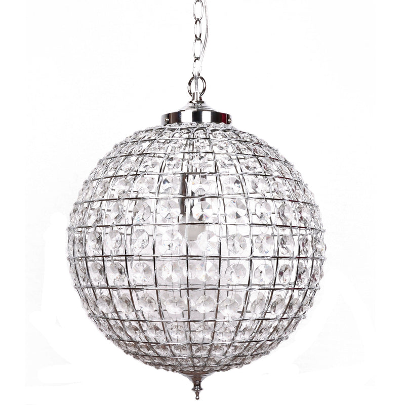 large casablanca crystal ball chandelier with polished chrome fittings on a white background