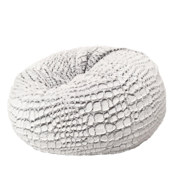 soft cashmere silver white fur beanbag on white background