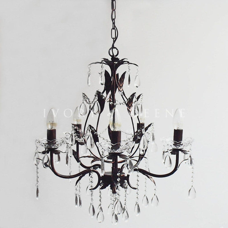 celine distressed gold shabby chic chandelier on grey background