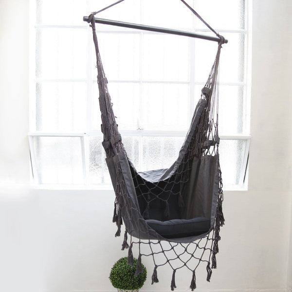Charcoal french provincial hanging hammock chair ivory for Hanging round hammock
