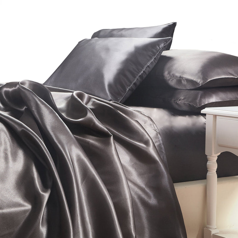 satin sheet set charcoal wedding linen white on white Ivory & Deene