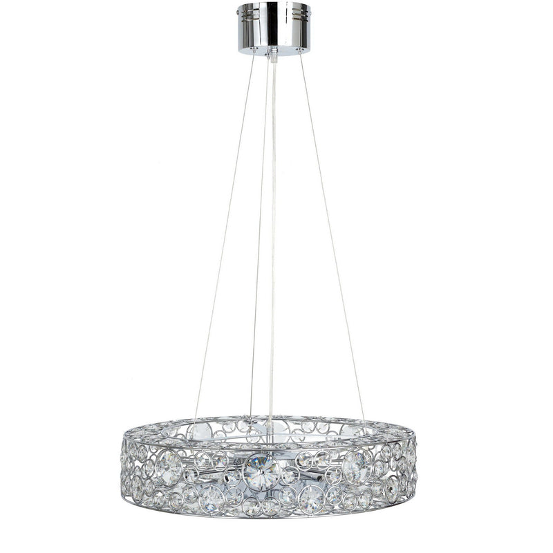 crystal pendant disc light with chrome fittings on a white background