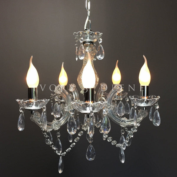 Chrome 5 Light Marie Therese Chandelier - Grace