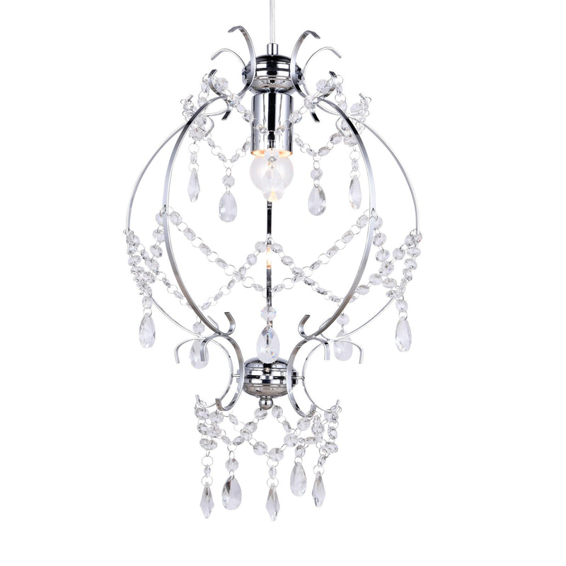 chrome stage coach cinderella chandelier on a white background