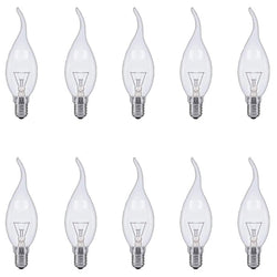E14 Flame Tip Chandelier Clear Candle Globes