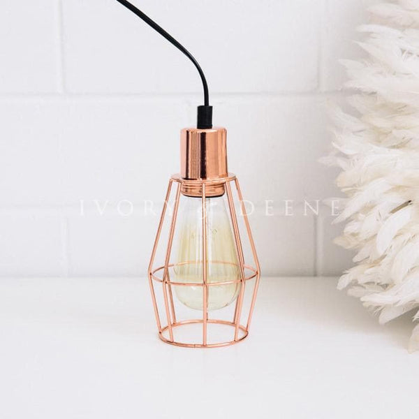 Copper Industrial Cage Pendant Light For Kitchen, Dining