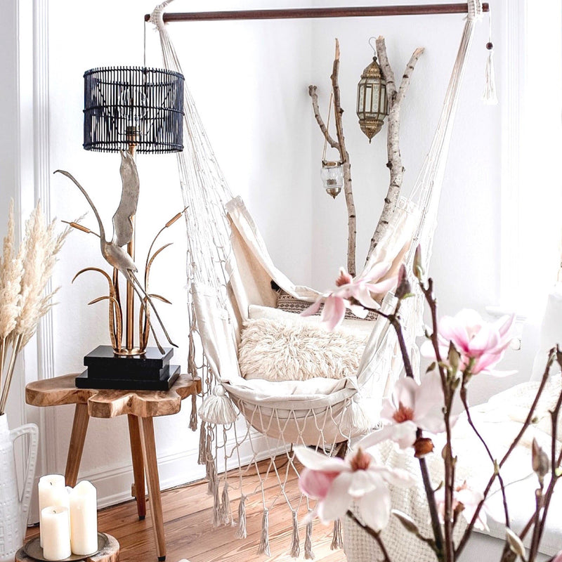 Boho Hammock Chair Swing Macrame Hanging Chair Ivory Deene