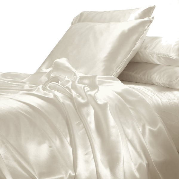 satin sheet set cream ivory wedding linen white on white Ivory & Deene