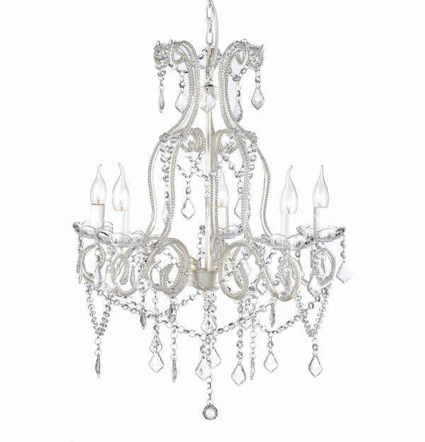 Shabby French White 5 Light Baroque Crystal Chandelier on white background