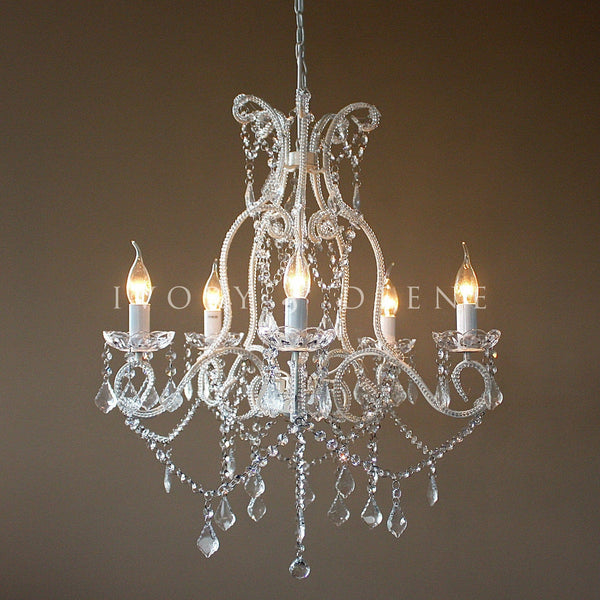 Shabby French White 5 Light Baroque Crystal Chandelier
